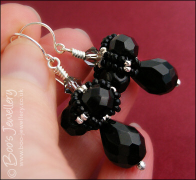 Black & silver crystal beaded bead earrings