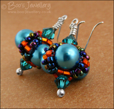 Turquoise glass pearl beaded bead earrings